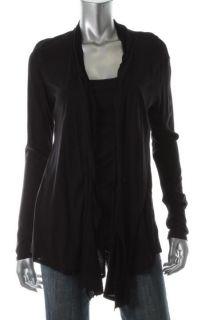 Ella Moss New Black Jersey Long Sleeve Ruffled Open Front Cardigan Top