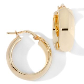 Jewelry Earrings Hoop 14K Yellow Gold 7x20mm Polished Flat Front