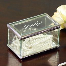 New Personalized Engraved Beveled Glass Jewelry Box