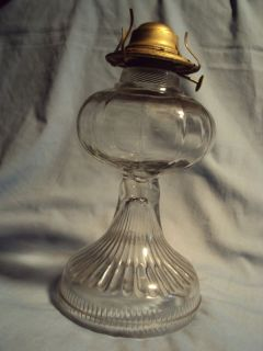 Antique Unique Pattern Glass Pedestal Oil Lamp w Eagle