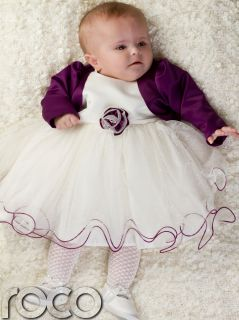 Baby Girls Purple Ivory Dress Bolero Jacket Wedding Babys Bridesmaid