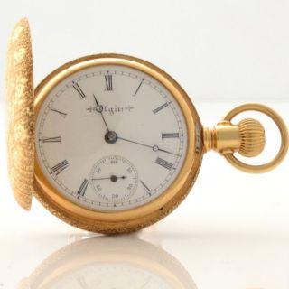 Antique 18K Gold Elgin Pocket Watch Fob 18ct Ladies 16 Jewels Hunter