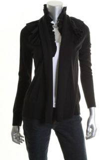 Elie Tahari Riley Black Pleated Shawl Collar Long Sleeve Cardigan
