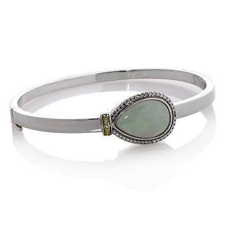 Pear Shaped Green Jade and Peridot 7 Bangle Bracelet with Diamond