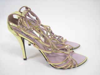 Elman Venezia Metallic Gold Strappy Sandals Heels Sz 7