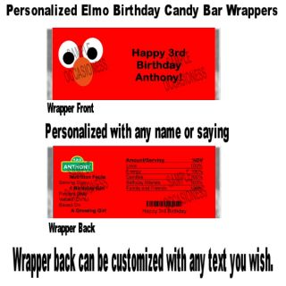 Personalized Elmo Birthday Candy Bar Wrapper Favors