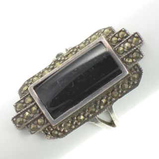Sterling Silver   Elongated Black Onyx & Marcasite   Ring (6.25) YA695