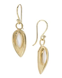 Elizabeth Showers Petite Mother of Pearl Drew Leaf Drop Earrings