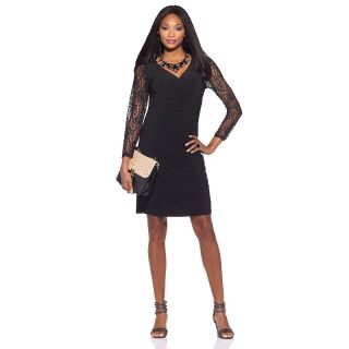 in black lace sleeve surplice dress note customer pick rating 31 $ 24