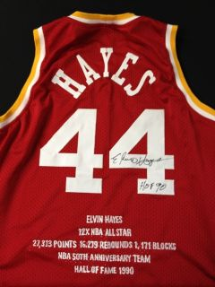 Elvin Hayes Houston Rockets Signed Throwback Stat Jersey RARE Proof