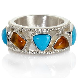 Jay King Sleeping Beauty Turquoise and Amber Band Ring at