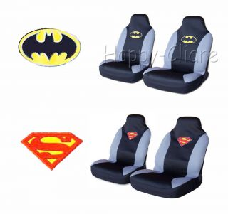 Superman Batman Emblem Car Front Seat Cover 2pcs Set