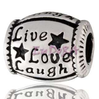 Eudora Christmas Gift Live Love Laugh Silver Bead S859