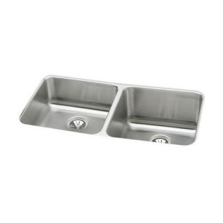 Elkay Lustertone Undermount Stainless Steel Kitchen Sink   Double Bowl