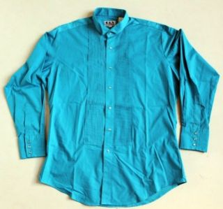 Ely Tuxedo Aqua Blue Pleated Snap Button Long Sleeve Rodeo Dress Shirt