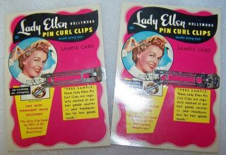 Pin Curl Clips Hair Lady Ellen Actress Elyse Knox Sample Cards