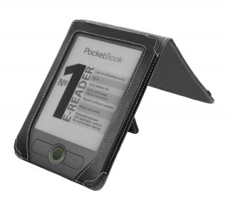 Basic 611 eReader Black Nappa Leather Flip Stand Cover Case