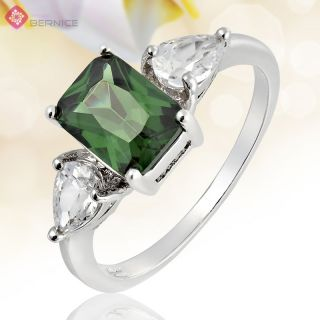 Jewelry Emerald Cut Green Emerald White Gold Plated Cocktail Ring 6 M