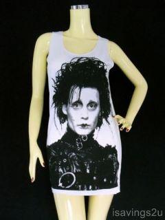 Johnny Depp Tank Top Edward Scissorhands White Singlet T Shirt Mini