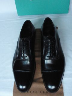 Edward Green Claydon Black Calf Leather U Throat Cap Toe Lace Up Shoes