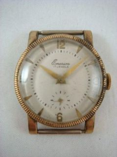 Vintage Gold Tone Emerson 17 Jewel Sub Dial Mens Dress Watch