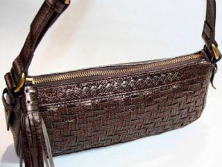 ELLIOTT LUCCA Metallic Eggplant Leather Shoulder Bag Tote LkNEW
