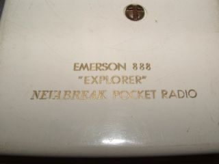 Emerson 888 Explorer Nevabreak Pocket Radio w Stand 1957 Good Vintage