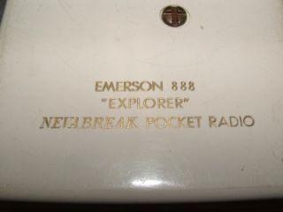 Emerson 888 Explorer Nevabreak Pocket Radio w Stand 1957 Good Vintage