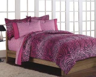 New Girls Teen Hot Pink Zebra Print Comforter Sheets Set Bedding Set