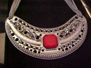 XLG Cleopatra Runway Necklace Tagged Erica Lyons Red Silver Ton