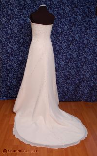 Blush Ivory Chiffon Over Satin Beaded Strapless Wedding Dress 8