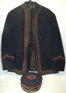 Old Early Evans City PA Firemans Wool Uniform Jacket Hat Henderson Co