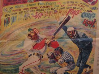 1964 Casey at The Bat Ernest Thayer Baseball Poem Print