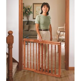 Evenflo Home Decor Locking Wood Stair Gate Harvest Oak Dog Pet Baby