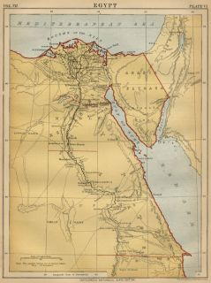 Egypt and The Nile Region Authentic 1889 Map Showing Topography Cities