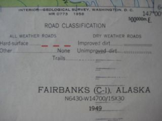 1949 USGS Topo Map Fairbanks Alaska Eielson Air Force Base Richardson