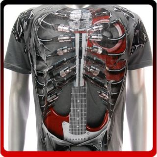 A43G M L XL XXL Artful T Shirt Tattoo Skull Guitar Music Retro Street