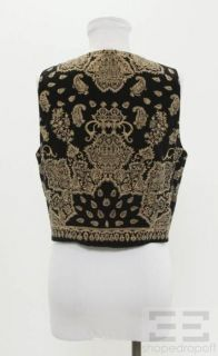 Emanuel Emanuel Ungaro Black & Tan Print Silk Button Front Sleeveless