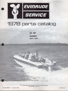1978 Evinrude Outboard Motor 55 HP Parts Manual