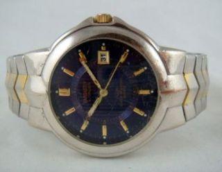Embassy by Gruen Gem 2113 Mens Blue Face Silver Gold Tone Band Watch