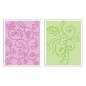 SIZZIX 2 EMBOSSING FOLDERS FRUIT & VINE SET LARGE FOLDER FITS A2 CARDS