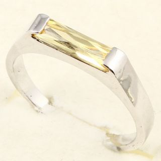 3x10mm Emerald Cut Yellow Sapphire 3 Ring