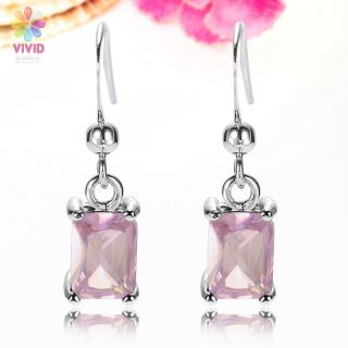 Fashion Jewelry Emerald Cut Pink Sapphire White Gold GP Drop Earrings