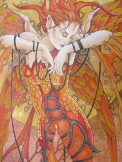 Linda Ravenscroft Original Fairy Painting Phoenix Rising Firebird