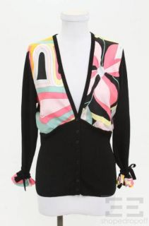 Emilio Pucci Black Wool Multicolor Silk Cardigan Size 14