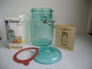 Ball Ideal Wire Top Mason Canning Jar Bicentennial 1776 1976 Blue Pint