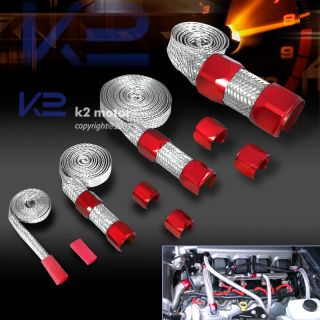 RED DRESS UP BRAIDED STEEL HOSE VACUUM FUEL RADIATOR HEATER LINES