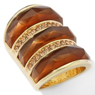 Justine Simmons Jewelry Tigers Eye Crystal Accented Elongated Ring at