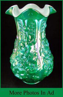 Fenton Reissue Poppy Show Carnival Glass Large Vase Green Emerald 1 Of