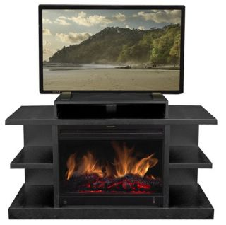 Blk Vent Free Electric Infrared Fireplace Heater Media Entertainment